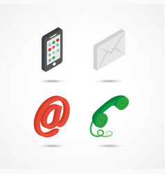 contact isometric icons 3d vector image