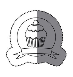 figure emblem muffin with strawberry icon vector image
