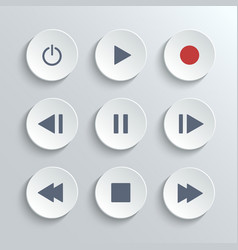 Media player control round button ui icon set vector image vector image