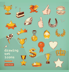Awards and achievement drawing set icons vector image vector image