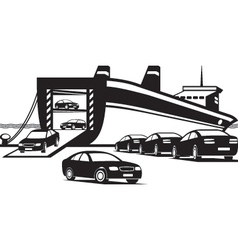 Cargo ship unloading new cars vector image vector image