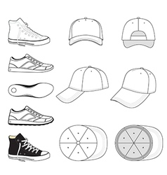 Colored outlined sneakers baseball cap set vector image vector image