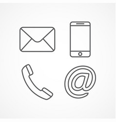 contact line icons vector image vector image