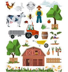 Farm low poly set of icons vector image