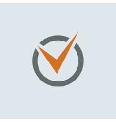 Gray-orange Check Mark Round Icon vector image vector image