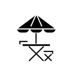 table chair and sun umbrella icon vector image