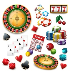 Casino symbols set composition poster vector image