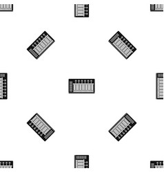 electronic synth pattern seamless black vector image vector image