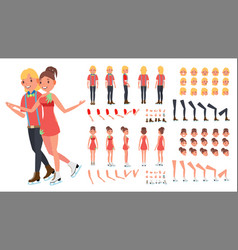 figure skating couple woman and male ice vector image vector image