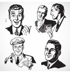 retro businessmen vector image vector image