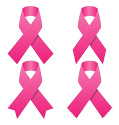 Set of pink breast cancer ribbons vector