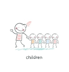Children and adults vector image