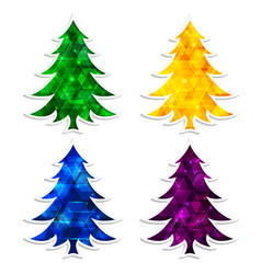 Colorful and glowing christmas trees isolated on vector