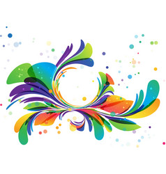 colorful floral ornament circle frame on white vector image vector image