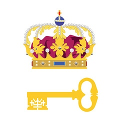 Crown and key vector image vector image