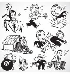 retro angry men vector image