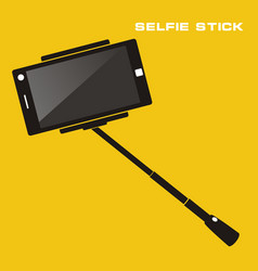 selfie stick with mobile phone flat icon on vector image vector image