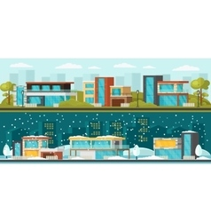 Suburban Landscape Horizontal Banners vector image vector image