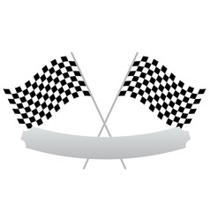 2 crossed racing flags with empty banner plaque vector image