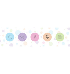 5 pinned icons vector