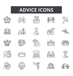 Advice line icons signs set outline vector