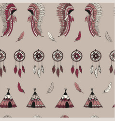 American indian symbols seamless pattern vector