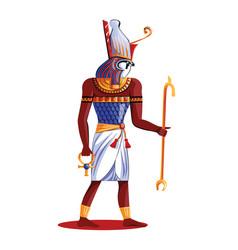 ancient egypt sun god horus cartoon vector image