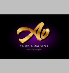 Av a v 3d gold golden alphabet letter metal logo vector
