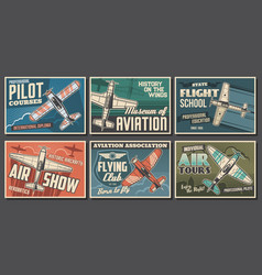 Aviation retro airplanes posters vector