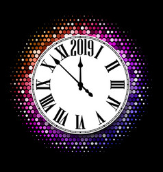 black 2019 new year background with white round vector image