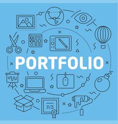 Blue line flat circle portfolio vector
