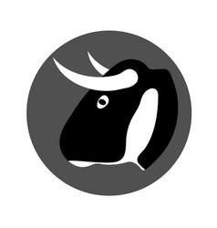 bull head bull head in a gray circle logotype vector image