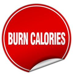 Burn calories round red sticker isolated on white vector