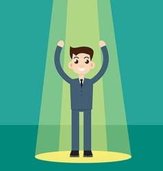 Businessman in spotlight vector image vector image