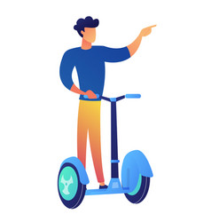 businessman riding scooter vector image
