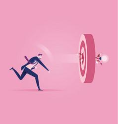 Businessman throw light bulb into target concept vector