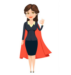 Businesswoman in a red cloak showing ok sign like vector