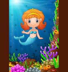Cartoon funny little mermaid under the sea vector