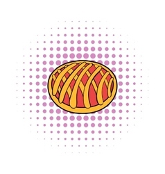 Cherry pie icon comics style vector