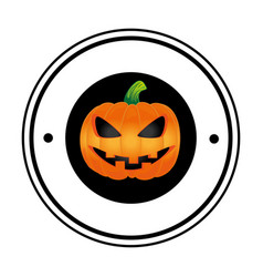 circular frame with halloween pumpkin vector image