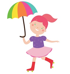 Circus girl with umbrella vector image