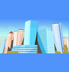 city skyscrapers view modern cityscape background vector image