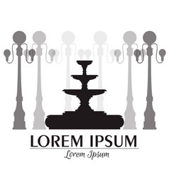 Classical fountain and lanterns isolated vector