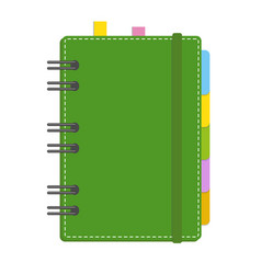 color closed notebook on a spiral with bookmarks vector image
