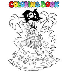 Coloring book with pirate topic 3 vector