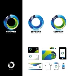 Corporate business 3d circle logo design vector
