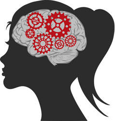 creative woman brain and gear vector image