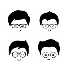 cute geek boys icons set vector image