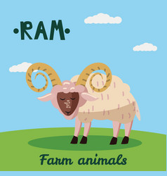 cute ram farm animal character farm animals vector image