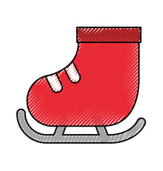 Cute scribble ice skate vector